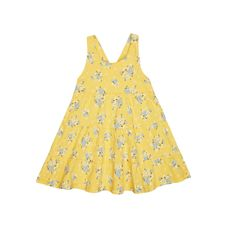 Yellow Floral Tiered Dress