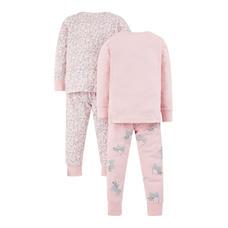 Pink Cat And Leopard Print Pyjamas - 2 Pack