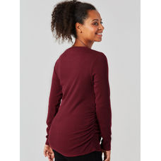 Burgundy Ribbed Maternity Top