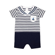 Heritage Navy Striped Mock Sailor Romper