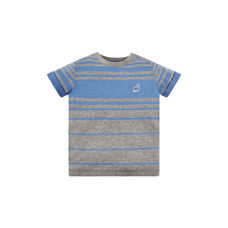 Grey And Blue Striped Dino T-Shirt
