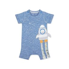 Blue Space Dinosaur Rocket Romper