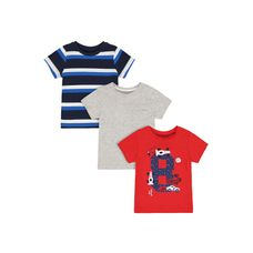 Car, Striped And Grey T-Shirts - 3 Pack