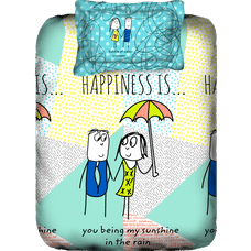 Happiness Is Bedsheet Single Size