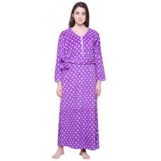 Secret Wish Women's Printed Purple Woolen Nighty