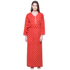 Secret Wish Women's Printed Orange Woolen Nighty