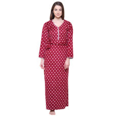 Secret Wish Women's Printed Wine Woolen Nighty
