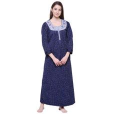 Secret Wish Women's Printed Royal Blue Woolen Nighty