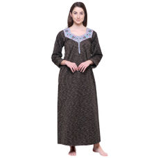 Secret Wish Women's Printed Brown Woolen Nighty