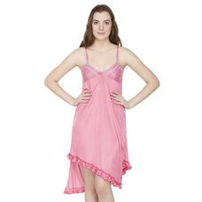 Secret Wish Satin Pink Babydoll Night Dress