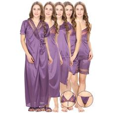 Satin Purple Robe, Nightdress set of 10 (Free Size)
