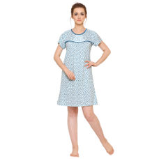 Pink By Secret Wish Women's Sky-Blue Hosiery Short Nightdress