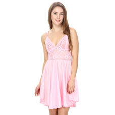 Satin and Lace Flair Pink Babydoll