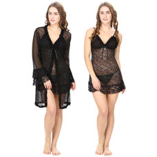 Black Lacy Babydoll With Lacy Robe