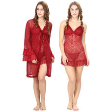 Maroon Lacy Babydoll With Lacy Robe