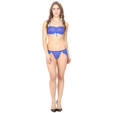 Mesh and Lace Blue Lingerie Set
