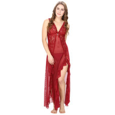 Mesh and Lace Maroon Sheer Night Dress with G-String