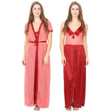 Satin Maroon Nighty With Pink Robe