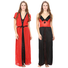 Satin Black Nighty With Red Robe