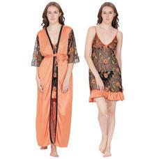 Secret Wish Women's Net, Satin Salmon Robe (Orange, Free Size)