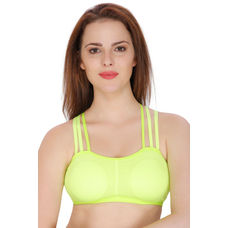 Secret Wish Padded Nylon,Spandex Fluorescent Green Sports Bra