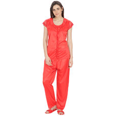 Secret Wish Women's Satin Red Nightsuit Set with Slippers (Red, Free Size)