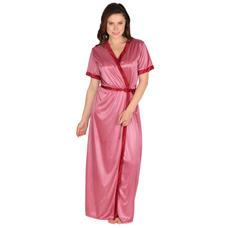 Secret Wish Women's Satin Beige, Purple Robe, Housecoat (Free Size, HC-60)