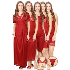 Satin Maroon Robe, Nightdress set of 10 (Free Size)