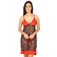 Secret Wish Women's Lace Red Babydoll Dress (Red, Free Size)