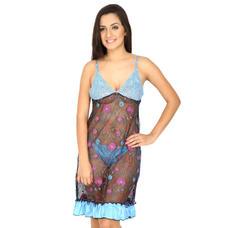 Secret Wish Women's Lace Blue Babydoll Dress (Blue, Free Size)