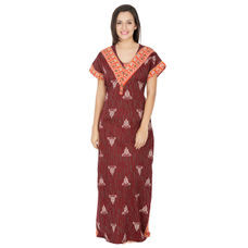 Secret Wish Women's Cotton  Nighty, Nightdress (Brown, Free Size)