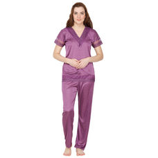 Secret Wish Satin Purple Nightsuit