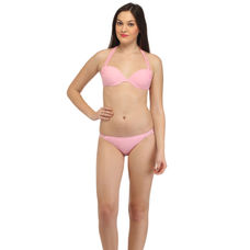 Baby Pink Strappy Halter Bikini