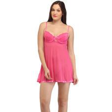 Secret Wish Pink Mesh Babydoll (Free Size)