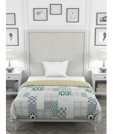 Portico New York Mosaics Collection - Detailed Mediterranean Print Single Size Comforter (100% Cotton, Reversible)