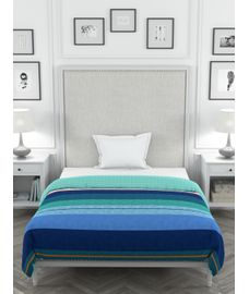 Portico Lavender Collection - Oceanic Hues Striped Geometric Print Single Size Comforter (100% Cotton, Reversible)