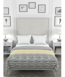 Portico Lavender Collection - Black & Yellow Abstract Striped Print King Size Comforter (100% Cotton, Reversible)