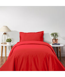 Percale Red Clay Duvet Cover Single Size
