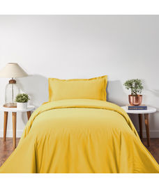 Percale Gold Sand Duvet Cover Single Size