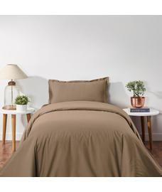 Percale Oatmeal Duvet Cover Single Size
