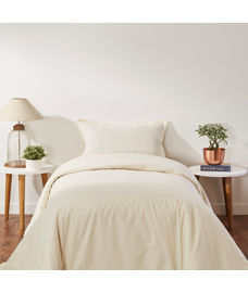 Percale Ivory Duvet Cover Single Size