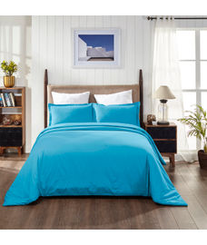 Percale Peacock Blue Duvet Cover King Size