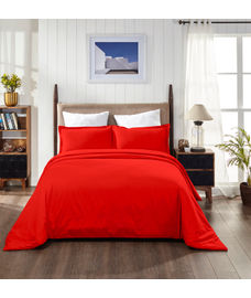 Percale Red Clay Duvet Cover King Size