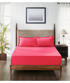 Percale Paradise Pink Fitted Sheet King Size