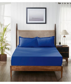 Percale Seaport Fitted Sheet Double Size