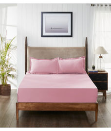 Percale Baby Pink Fitted Sheet Double Size