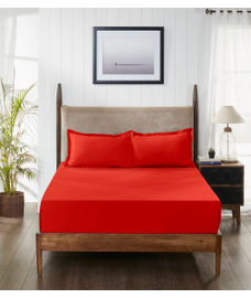Percale Red Clay Fitted Sheet Double Size
