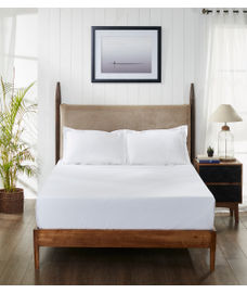 Percale Optical White Fitted Sheet Double Size
