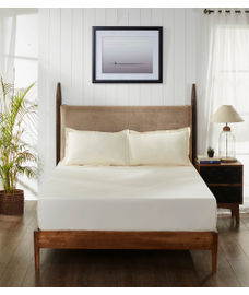 Percale Ivory Fitted Sheet Double Size