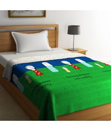 Portico New York Happiness Is Collection - Graphic, Multi-Coloured Single Size Comforter (100% Cotton, Reversible)